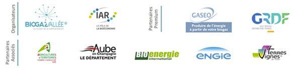 Les partenaires de la Convention d'Affaires 2017 du Biogaz et de la Méthanisation - Organisateurs : Biogaz Vallée®, Pôle IAR / Partenaires Premium : GASEO, GRDF / Partenaires Associés : Bioénergie International, la Chambre d'Agriculture de l'Aube, le Département de l'Aube, ENGIE, Terres&Vignes